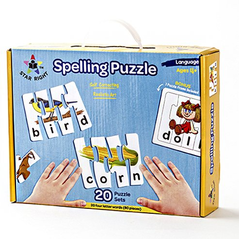 Star Right Self-Correcting Spelling Puzzle with Realistic Art to 4 Letter Words, Set of 20 (60 pieces) with 1 Puzzle Frame Included by Star Right