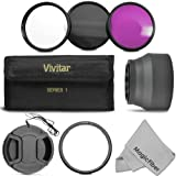 Essential Accessory Kit for CANON PowerShot SX50 HS Digital Camera - Includes: 58MM Lens Adapter Ring + Vivitar Filter Kit (UV, CPL, FLD) + Carry Pouch + Collapsible Rubber Lens Hood + Center Pinch Lens Cap + MagicFiber Microfiber Lens Cleaning Cloth