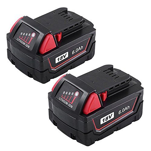 Extended Battery Bat - Replacement for Milwaukee 18V Battery XC 6.0Ah Lithium Extended Capacity M18B 48-11-1850 48-11-1852 2Pack