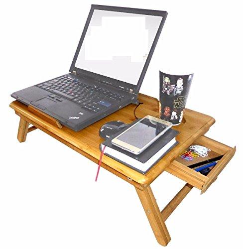 Mesa De Bambu con Base Enfriadora 2 Ventiladores Laptop Bamboo Cama Desayuno Cena