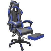 TOPLIVING Silla Gamer Reclinable con Descansa pies Soporte Lumbar Vinipiel Palanca para Posiciones (Azul)