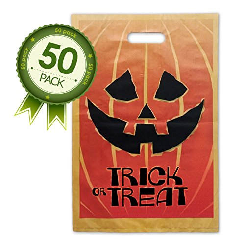 Halloween Jack O Lantern Trick Or Treat Bags – 50 Pack Goody Bags – Larger (Easy Cheap Homemade Halloween Costume Ideas)