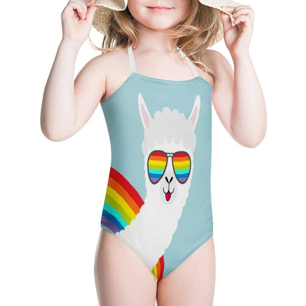 KiuLoam Funny Fluffy Llama Girls Swimwear One Piece Swimsuits Bathing Suit for 3-8 Years Baby Girl