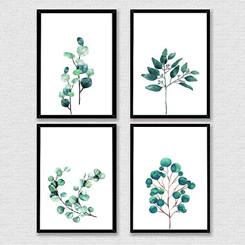 Australian Eucalyptus Leaf Print, Watercolor Art Poster, Australian Prints, Modern Botanical Plant Print, Leaf Art, Home Décor, Living & Dining Room Gift - Set of 4-8x10 - Unframed