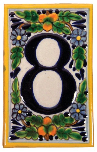 Hand Painted House Number '0' in Peaches Letter Number Plaque Number: 8 (Ceramic Address Plaque)