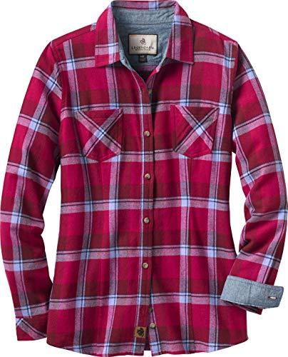 Legendary Whitetails Women's Cottage Escape Long Sleeve Button Up Flannel Shirt (Medium, Berry Plaid) ()