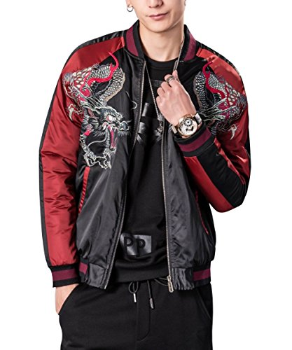 LETSQK Men's Retro Casual MA-1 Air Force Dragon Embroidery Baseball Bomber Jacket L -
