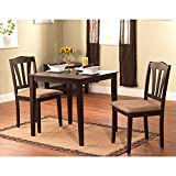 Modern Dark Brown 3-piece Dining Set with Square-topped Table and Two Chairs of Solid Wood for Small Place Kitchen or Dinig Room for Everyday Use Breakfast Lunch Dinner Koffee or Tea Time,BONUS e-book