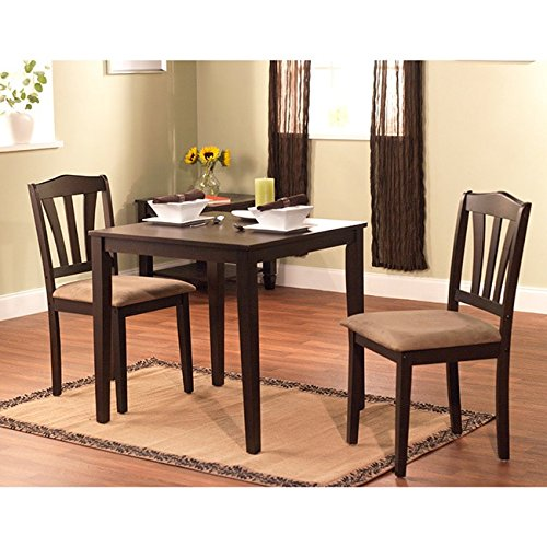 Modern Dark Brown 3-piece Dining Set with Square-topped Table and Two Chairs of Solid Wood for Small Place Kitchen or Dinig Room for Everyday Use Breakfast Lunch Dinner Koffee or Tea Time,BONUS e-book by Best Care LLC