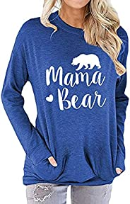 ZIOOER Women Mama Bear Long Sleeve Sweatshirt Pullover Casual Pocket T-Shirt Blouses Tops