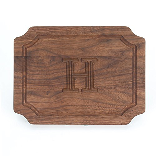 BigWood Boards W300-H Cutting Board, Monogrammed Wedding Gift Cutting Board, Small Cheese Board, Walnut Wood Serving Tray,