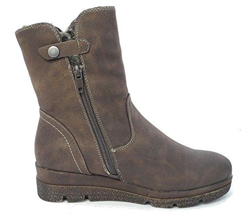 Look Collar Fur 6 Scuro 8 7 Stivaletti Brown 3 Heel Marrone Wedge Tan Biker Leather 5 Dark 4 Womens qt5w6Bt