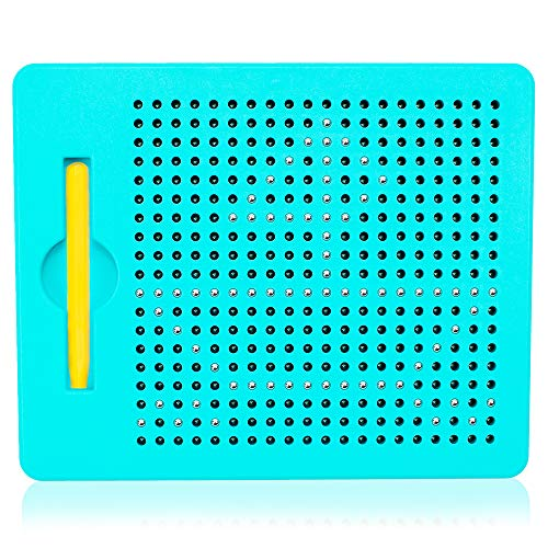 Magnet Toys Magnetic Drawing Board for Kids with Beads and Square Blue, Blue