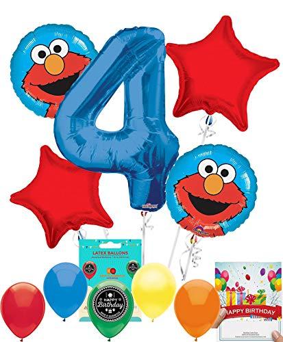 Elmo Party Supplies Sesame Street Balloon Decoration Bundle with Birthday Card for 4th Birthday -
