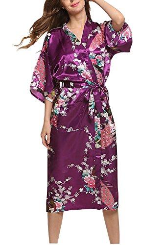 Dolamen Mujer Albornoz Vestido Kimono Satén, Camisón para mujer, Pavo & Flores Robe Albornoz Dama de honor Ropa de dormir Pijama, Estilo largo Púrpura