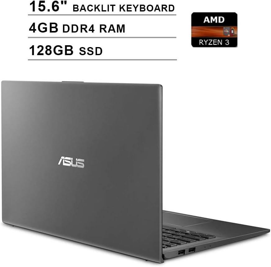 2020 ASUS VivoBook 15 15.6 Inch FHD 1080P Laptop (AMD Ryzen 3 3200U up to 3.5GHz, 4GB DDR4 RAM, 128GB SSD, AMD Radeon Vega 3, Backlit Keyboard, FP Reader, WiFi, Bluetooth, HDMI, Windows 10) (Grey)