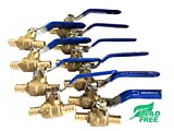 "(pack of 10) 1/2"" PEX Brass Ball Valve, Full Port, Crimp, Shut-off Valves for PEX Tubing"