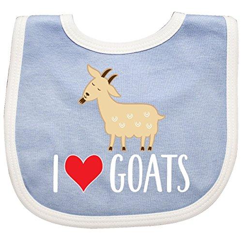 Inktastic - Goat Cute I Love Goats Farm Animal Baby Bib Blue/White 2b56b