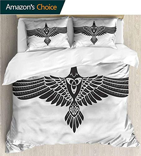 (carmaxs-home Bedspread Set Queen Size,Box Stitched,Soft,Breathable,Hypoallergenic,Fade Resistant Kids Bedding-Does Not Shrink Or Wrinkle-Raven Norse Mythology Theme Bird (87