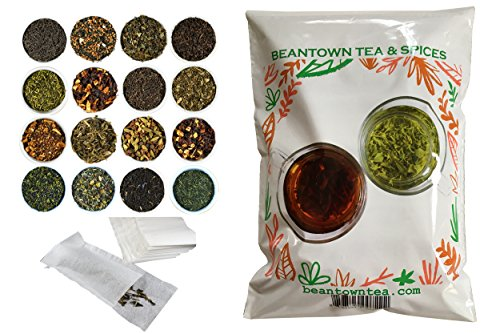 Beantown Tea & Spices - 15 Gourmet Samplers & 100 Filters Pack. Variety of Premium Loose Leaf Tea Samplers. Great Gift Idea and Stocking Stuffers. Green, White, Black and Herbal Teas.