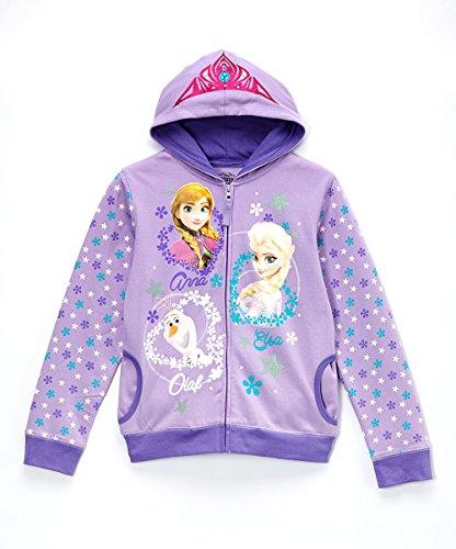 Disney Frozen Elsa, Anna and Olaf Zip-Up Hoodie Sweatshirt for Girls, Purple (Med (8/10))