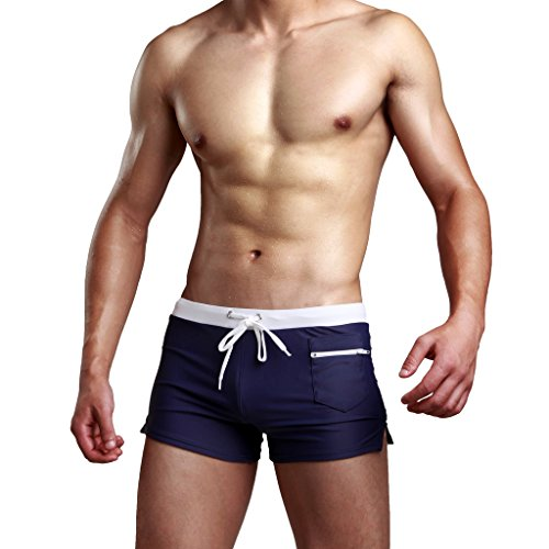 Men's Swimming Trunks Boxer Brief Swimsuit One Piece Size XL, Navy