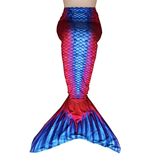 Play Tailor Mermaid Tail Swimmable Costume Swimsuit for Girls Swimming(No monofin) (Child 6, Red-Blue)