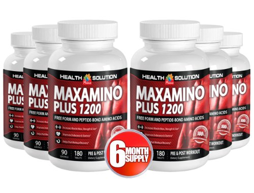 Lysine and vitamin c - MAXAMINO PLUS 1200 - produce energy (6 Bottles) by Health Solution Prime