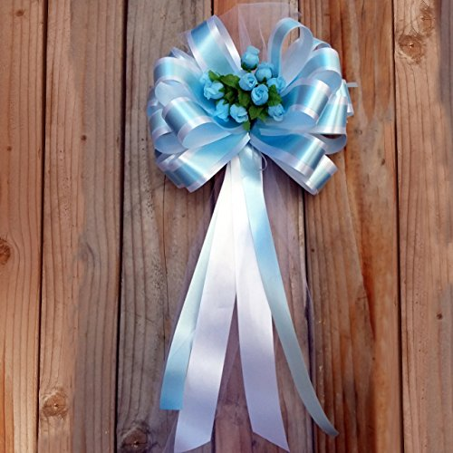 Baby Blue and White Striped Wedding Pull Bows with Tulle Tails and Rosebuds - 8