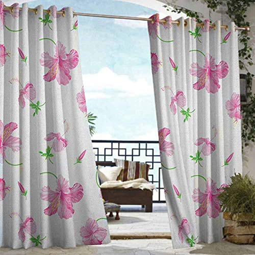Outdoor Balcony Privacy Curtain Flower,Hibiscus Bloom Flowers on a Plain Background with Floral Patterns in Country Style, Pink White,W84