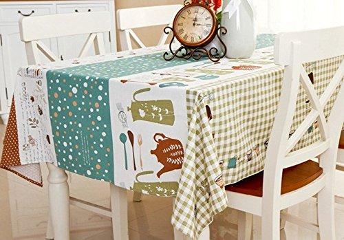 HXC Home 140  180 cm verde Cartoon Checker scandinavo ins tovaglia da Tavolo da Pranzo in Cotone e Lino Garden Rettangolare Quadrato Non-Ironing Eco-Friendly Runner