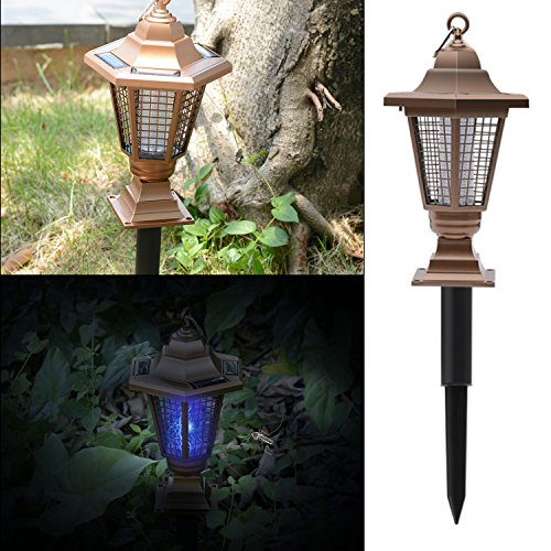 Solar Mosquito Zapper Insect Killer,Sonto Solar Garden Lamp/Outdoor Bug  Zapper Mosquito 2 In 1 Standing Or Hanging For Patio Yard Courtyar