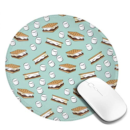Biscuit and Marshmallow Gaming Mouse Pad Cute Round Mouse Mat Non-Slip Rubber Base Desktop Mousepad