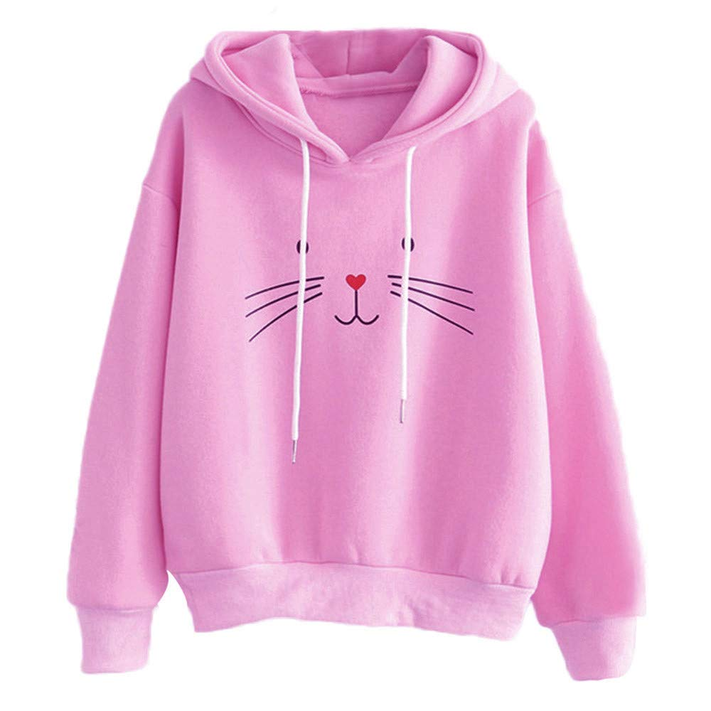 Cathalem Women Casual Kitty Cat Print Pocket Long Sleeve Thin Hoodie Blouse Top Shirt