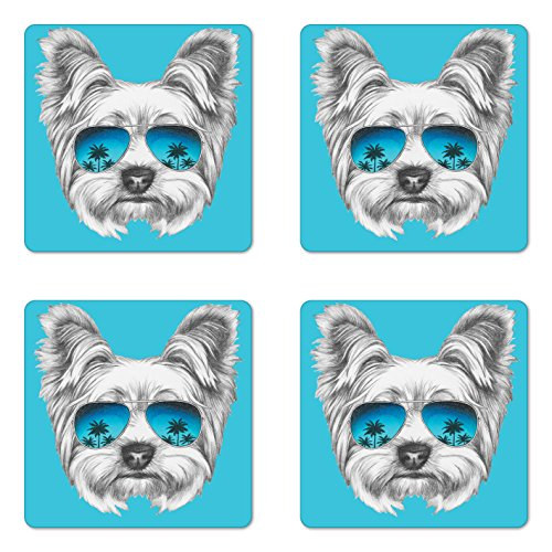 (Ambesonne Yorkie Coaster Set of Four, Yorkshire Terrier Portrait with Cool Mirror Sunglasses Hand Drawn Cute Animal Art, Square Hardboard Gloss Coasters for Drinks, Blue White)