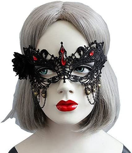 Black and Red Mardi Gras Costume Masquerade Half Mask With Lace and Rhinestones