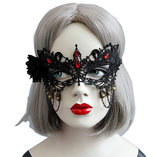 KingsCat Masquerade Women Eye Face Mask with Black Flower Red Rhinestones Masks for Halloween Costume -