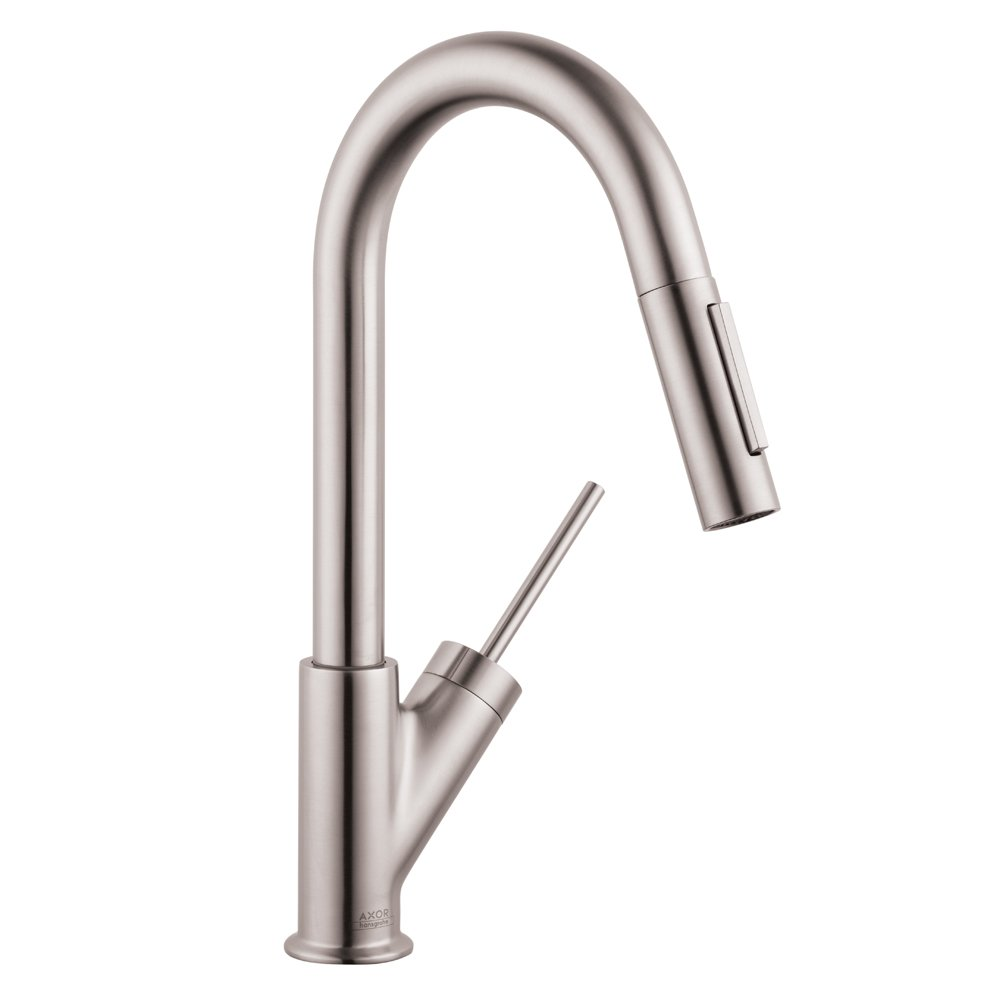 AXOR Starck Luxury 1-Handle 14-inch Tall Stainless Steel Kitchen Faucet with Pull Down Sprayer Magnetic Docking Spray Head in Steel Optic, 10824801