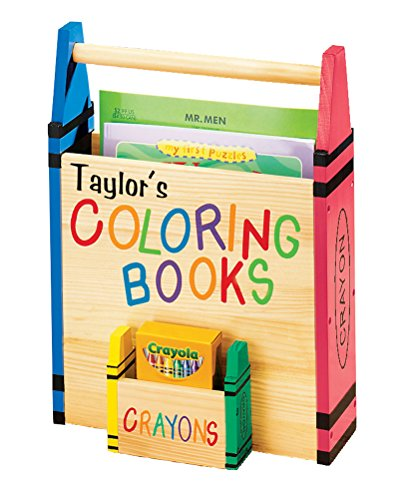 Personalized Coloring Book Caddy -Coloring Book Organizer with Crayon Storage Customized with Child Name - Book Carrier - Tote