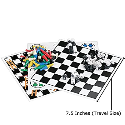 Kathleen 7 Combo Classic Board Game with Magnetic Pieces - Tic-tac-toe, Checkers, Backgammon, Chess, Snakes and Ladders, Chinese Checkers, Ludo - Travel Set