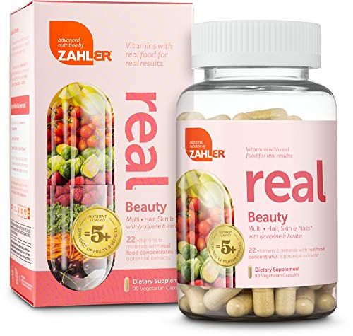 Zahler Real Beauty Multivitamin, Multivitamin for Women and Men Targeting Skin Hair & Nails, Multivitamin Complex with Lycopene and Keratin, Certified Kosher, 90 Vegetarian Capsules (Best Multivitamin For Skin)