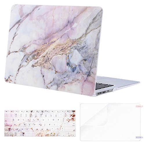 MOSISO MacBook Air 13 Inch Case (Release 2010-2017 Older Version), Plastic Pattern Hard Case & Keyboard Cover & Screen Protector Only Compatible MacBook Air 13 (A1369 & A1466), Colorful Marble