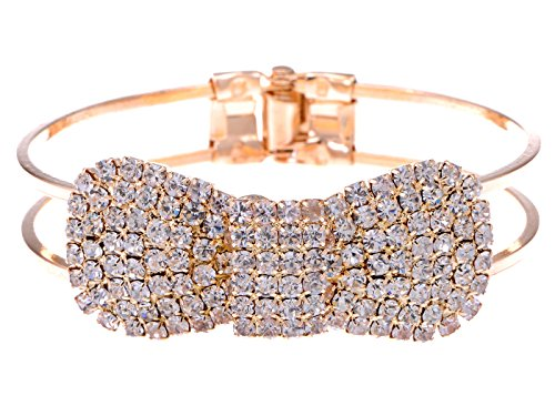 (Alilang Vintage Glam Golden Tone Crystal Rhinestone Encrusted Ribbon Bow Loop Cuff Bangle Bracelet )