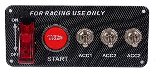 Switch Race Gloves - DC12V Ignition Switch Panel 5 in 1 Car Engine Start Push Button LED Toggle For Racing Car