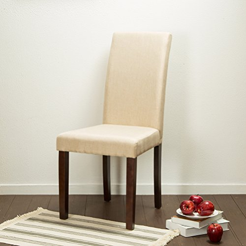 Glitzhome Padded Fabric Dining Chairs Beige, Set Of Two by Glitzhome (Image #5)'