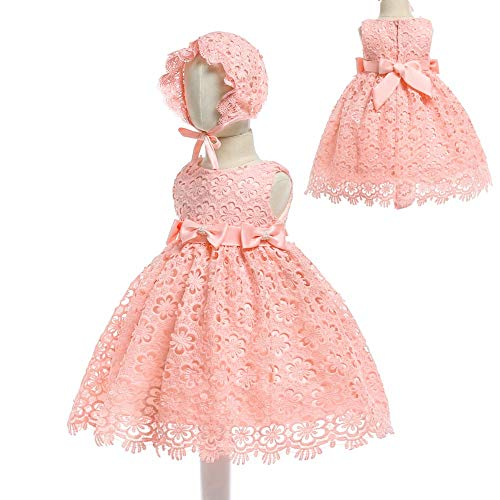 Baby Girls Embroidered Lace Christening Gown Baptism Dress with Bonnet(Pink 12M)