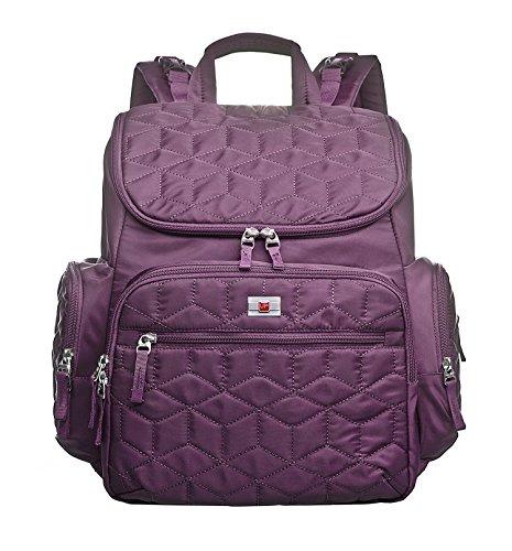 larsuyar pañales de nylon impermeable mochila para mujer, bolso cambiador negro para silla de paseo morado morado morado