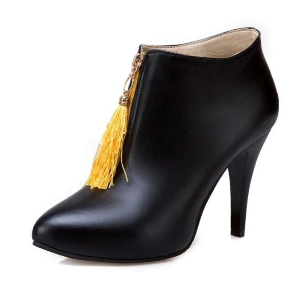CITW Damenstiefel Spitzen Hochhackige Stiefel Nackte Stiefel Martin Stiefel Große Damenstiefel Warme Stiefel,schwarz,UK4 EUR38