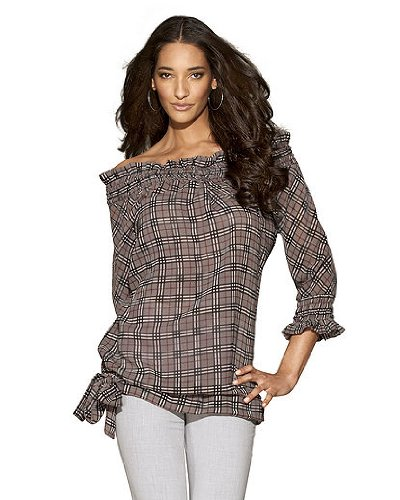 Newport News Smocked Off The Shoulder Tunic Top