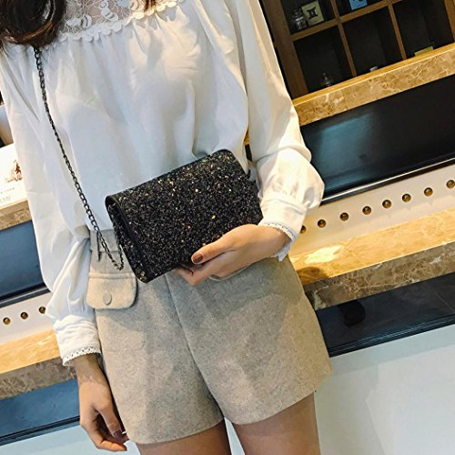 Crossbody Chain Sequins Bag Square Bag Women Black With Messenger Bling Bag Bag Shoulder Fashion Leather Girl gqAwx7A0
